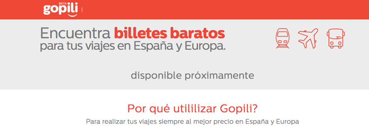 Screenshot del sitio español de Gopili